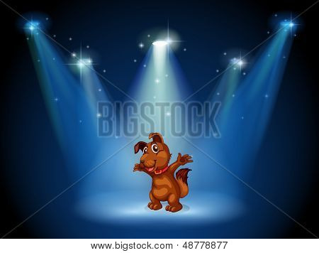 Illustration of a stage with a dog in the middle