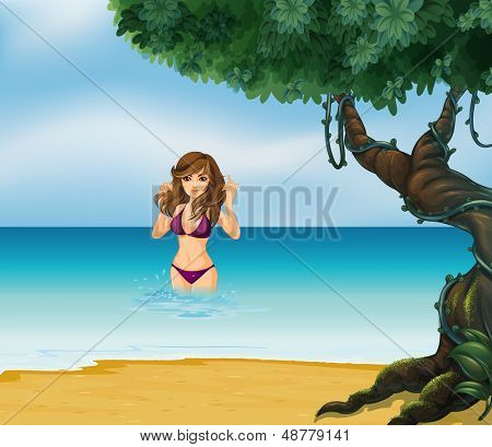 Illustration of a beach with a girl in her violet bikini