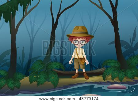 Illustration of a boy scount in the forest near the lake