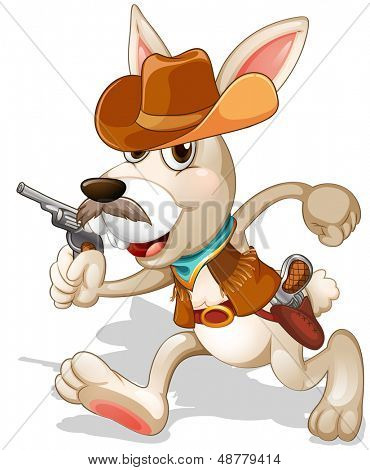 Illustration of a rabbit running with a gun on a white background