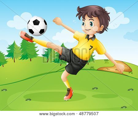 Illustration of a female football player in her yellow uniform