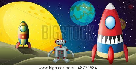 Illustration of a robot between two spaceships at the outerspace