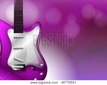 Illustration of a guitar with a gradient colored background