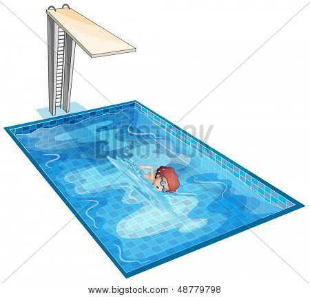 Illustration of a boy rehearsing at the swimming pool on a white background