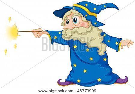 Abbildung eines Assistenten halten einen Zauberstab auf weißem Hintergrund