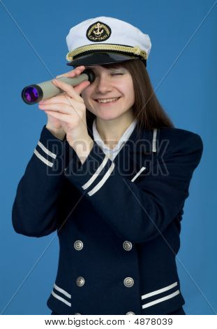 Portrait Of The Girl - Captain With Telescope