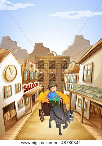 Illustration of a farmer near the saloon bar