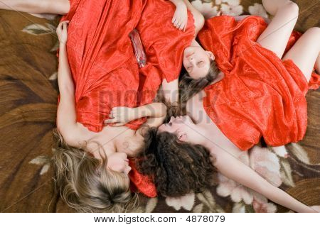 Three Sleeping Beautiful Girls After A Party