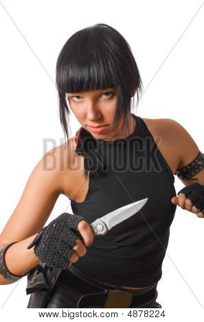 Young Military Brunette Female Holding Knife