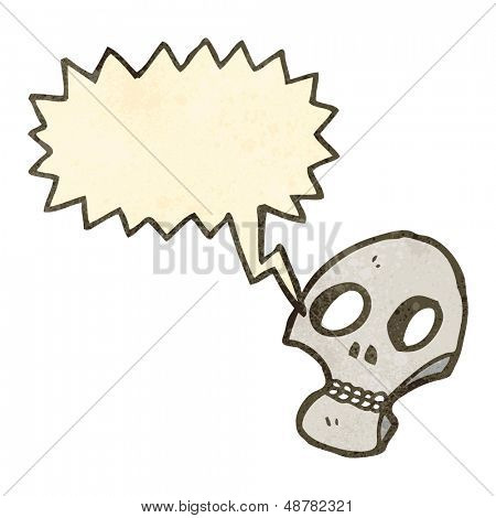 retro cartoon graffiti style shrieking skull