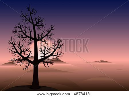 Lonely Tree. Sunset. Mountains In Fog. Vector Background.