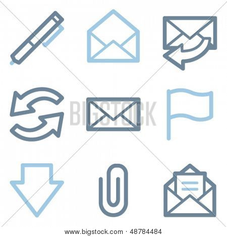 Email icons, blue line contour series