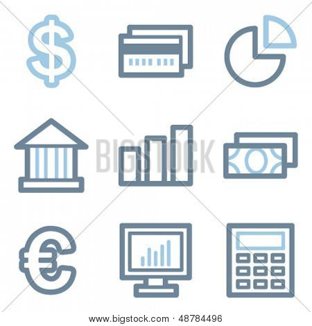 Finance icons, blue line contour series