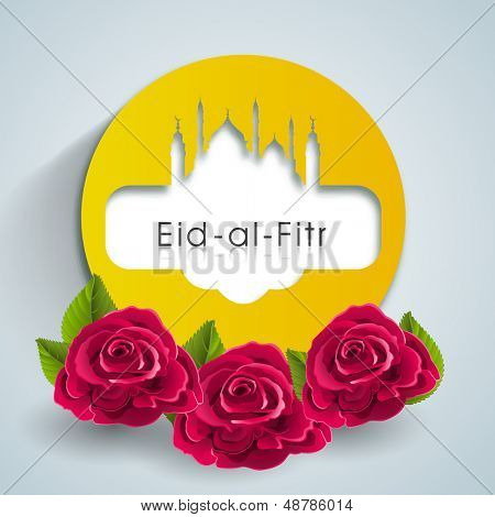 Muslim community festival Eid Al Fitr (Eid Mubarak) tag, labels or stickers with red roses on abstract grey background.