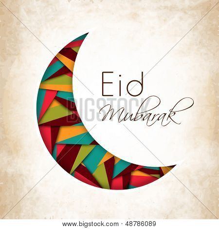 Beautiful illustration for Muslim community festival Eid Mubarak with hanging moon and stars.