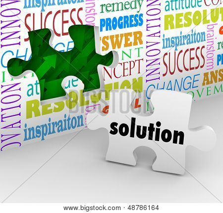 A puzzle piece with the word Solution as the answer to a problem or solved challenge and a wall filled with words such as inspiration, resolution and innovation