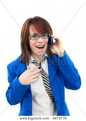 Business Girl Talking With Mobile Phone