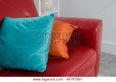 Red Sofa And Pillows