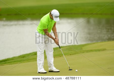 MOSCOW, RUSSIA - JULY 27: Espen Kofstad of Norway in action during 3rd round of the M2M Russian Open at Tseleevo Golf & Polo Club in Moscow, Russia on July 27, 2013