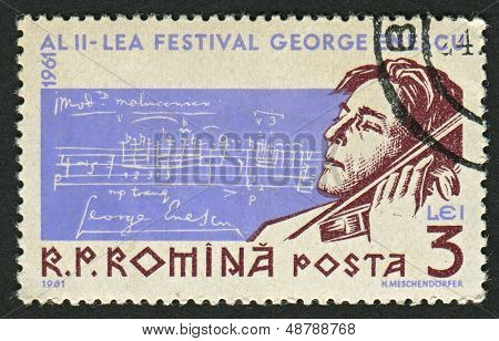 ROMANIA - CIRCA 1961: A stamp printed in Romania  shows image of the George Enescu (known in France as Georges Enesco) was a Romanian composer, violinist, pianist, conductor and teacher, circa 1961.