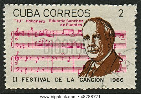 CUBA - CIRCA 1966: A stamp printed in Cuba shows image of the Eduardo Sanchez de Fuentes  was a Cuban composer, and an author of books on the history of Cuban folk music, circa 1966.