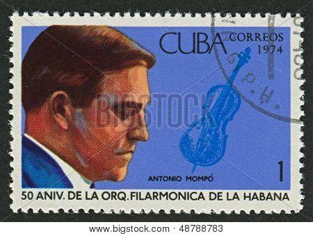 CUBA - CIRCA 1974: A stamp printed in Cuba shows image of the Violinist Antonio Mompo, circa 1974.
