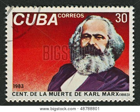 CUBA - CIRCA 1983: A stamp printed in Cuba shows image of the Karl Heinrich Marx,  was a German philosopher, economist, sociologist, historian, journalist, and revolutionary socialist, circa 1983.