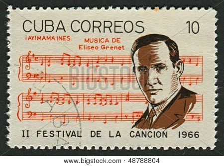 CUBA-CIRCA 1966:A stamp printed in Cuba shows image of the Eliseo Grenet Sanchez (12 June 1893 in Havana - 4 November 1950)was a Cuban pianist and a leading composer,  arranger of the day, circa 1966.