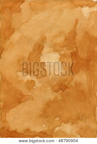 Old shabby paper. Carelessly spilled tea. Bright shade of brown.
