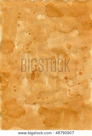 Old shabby paper. Carelessly spilled tea. Random brown drops.