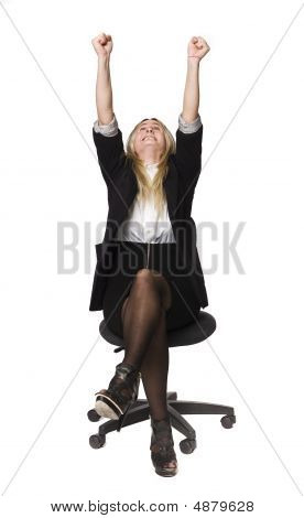 Woman rising her hands in the air