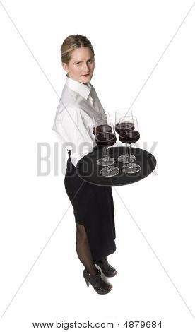 Blond waitress with a tray of wineglasses