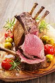 stock photo of deer rack  - roasted venison rack - JPG
