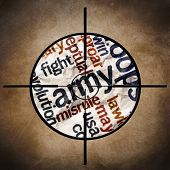 stock photo of humvee  - Close up of Military target on army text - JPG