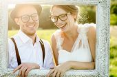 stock photo of heterosexual couple  - Happy couple on wedding day - JPG