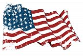stock photo of iwo  - Grunge illustration of a waving US 48 star flag of the period 1912 - JPG