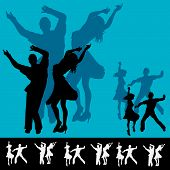 stock photo of jive  - Background illustration for a dance club with couples dancing in silhouette - JPG