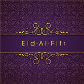picture of eid card  - Golden text Eid Al Fitr  - JPG