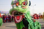 YU COUNTY CHINA FEBRUARY 5: People performing traditional lion dance for celebrating Lantern Festiva