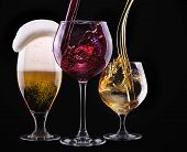 image of alcoholic drinks  - alcohol drinks set isolated on a black background  - JPG