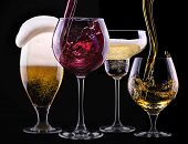 image of merlot  - alcohol drinks set isolated on a black background  - JPG
