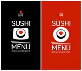 pic of long-fish  - Sushi menu cards design template - JPG