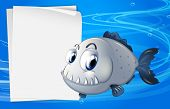 picture of piranha  - Illustration of a piranha beside an empty signage under the sea - JPG