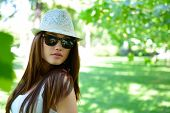 picture of fedora  - young beautiful lady outdoor portrait - JPG
