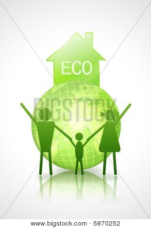 Eco House With Earth And Family_