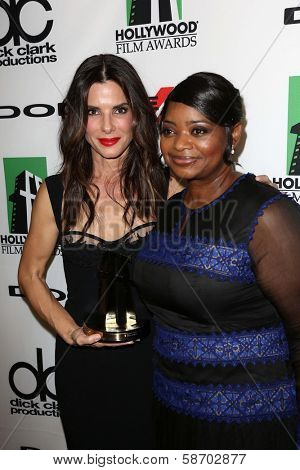 Sandra Bullock and Octavia Spencer at the 17th Annual Hollywood Film Awards Backstage, Beverly Hilton Hotel, Beverly Hills, CA 10-21-13