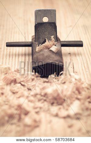 Carpentry Of Wood Planer Closeup