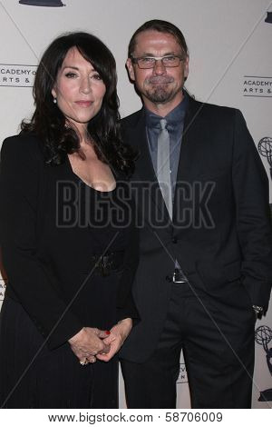 """Katey Sagal and Kurt Sutter at An Evening with """"Sons of Anarchy,"""" Leonard H. Goldenson Theater, North Hollywood, CA 10-25-13"""