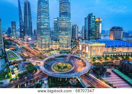 Shanghai Midtown In Nightfall