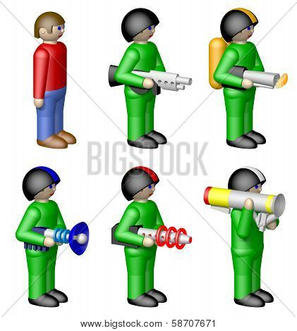 Toy soldiers isolated on white background